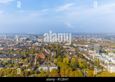 Aerial panorama from Florianturm  telecommunications tower and landmark in Dortmund Germany. - Stock Photo