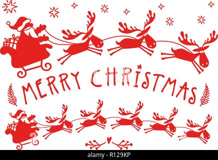 Santa Claus sleigh with reindeer for Christmas cards, wall art, cutout vector illustration - Stock Photo