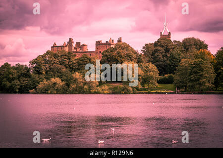 St. Michael's Church and Linlithgow Palace in Linlithgow, Scotland - Stock Photo