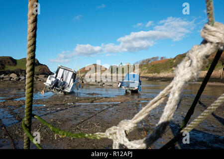 Watermouth Cove North Devon at low tide showing beached yachts and boats on a sunny day - Stock Photo