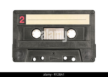 Retro black audio cassette tape isolated on white background. Side two. - Stock Photo