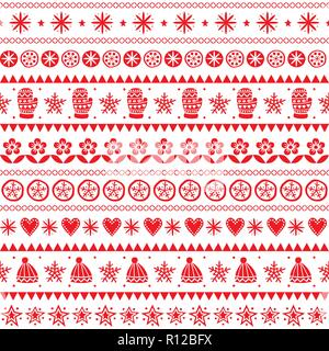 Winter folk art vector seamless pattern, Christmas red ornament hand drawn style, retro background on white - Stock Photo