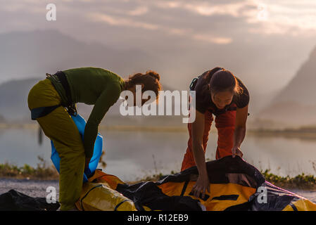 Friends on rock climbing trip, Squamish, Canada - Stock Photo
