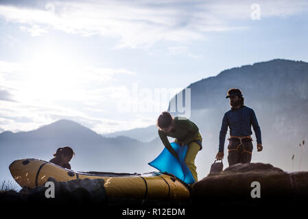 Friends on rock climbing trip, Squamish, Canada