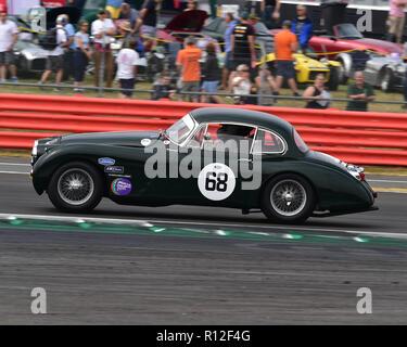 Marc Gordon, Jaguar XK150, Stirling Moss Trophy, pre-61 sports cars, Silverstone Classic, July 2018, Silverstone, Northamptonshire, England, circuit r - Stock Photo