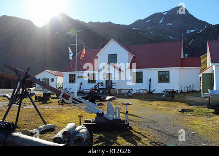 Grytviken Museum. Former whaling station at the head of King Edward Cove, South Georgia, South Atlantic. Explorer Ernest Shackleton is buried here. - Stock Photo