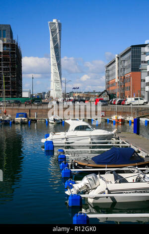 MALMÖ Turning Torso building in Västra hamnen /west harbour/ - Stock Photo