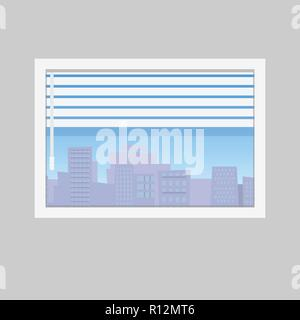 Room window with jalousie and city skyline view. Window framed concept with urban buildings view. - Stock Photo