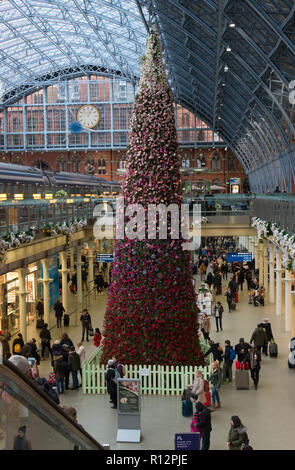 Christmas at St Pancras Station - Stock Photo