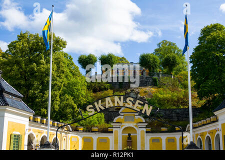 Entrance to Skansen open air museum, Djurgården, Stockholm is the capital and largest city of Sweden - Stock Photo
