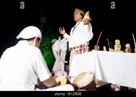 Merida, Cementerio General, Mexico - 31 October 2018: Maya ceromony for the holiday Hanal Pixan on the stage with musician playing drums and ceremony  - Stock Photo