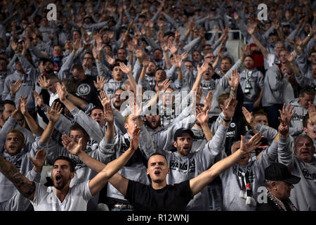 Nikosia, Cyprus. 08th Nov, 2018. Soccer: UEFA Europa League, Group H, Matchday 4, Apollon Limassol - Eintracht Frankfurt in GSP Stadium: The fans from Frankfurt cheer their team on. Credit: Angelos Tzortzinis/dpa/Alamy Live News - Stock Photo