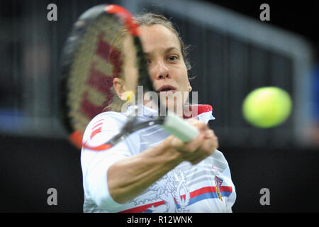 Prague, Czech Republic. 8th Nov, 2018. Barbora Strycova of the Czech Republic during practice ahead of the 2018 Fed Cup Final between the Czech Republic and the United States of America in Prague in the Czech Republic. The Czech Republic will face United States in the Tennis Fed Cup World Group on 10 and 11 November 2018. Credit: Slavek Ruta/ZUMA Wire/Alamy Live News - Stock Photo