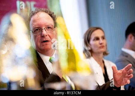 Berlin, Germany. 09th Nov, 2018. Olaf Zimmermann, Managing Director of the German Cultural Council, takes part in the press conference on the 'Berlin Declaration of the Many'. In Berlin more than 90 cultural institutions of the campaign of the association Die Vielen e.V. have joined together. Credit: Christoph Soeder/dpa/Alamy Live News - Stock Photo