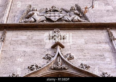 Sculptures details from the back door  of the La Lonja, The Llotja de la Seda or the La Lonja Silk Exchange  Valencia, Spain - Stock Photo