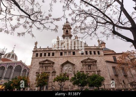 Facade of the La Lonja, The Llotja de la Seda or the La Lonja Silk Exchange  Valencia, Spain - Stock Photo