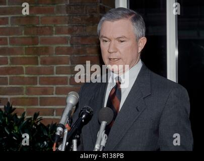 Washington, DC. March 29th, 1998 USA  Senator Jeff Sessions Republican of Alabama talks with reporters outside the CBS studios in Washington DC after his appearance on the Sunday Morning Talk 'Face The Nation'  Credit: Mark Reinstein/MediaPunch - Stock Photo