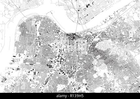 Satellite map of Louisville, Kentucky, Usa, city streets. Street map and map of the city center - Stock Photo