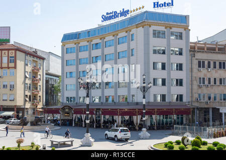 Hotel Stone Bridge, Kej Dimitar Vlahov, Skopje, Skopje Region, Republic of North Macedonia - Stock Photo