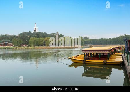 View of Jade Island with White Pagoda in Beihai Park at Beijing, China - Stock Photo