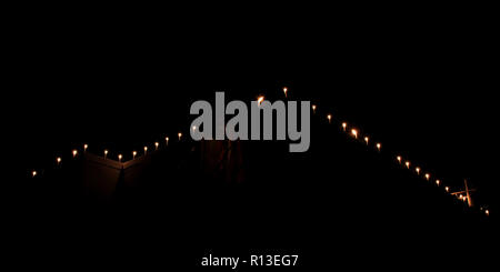 Candles on a black background. Isolated. Flame candle Oil lamps for the evening prayers, Religious faith believe concept. - Stock Photo