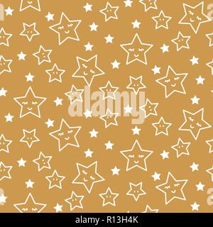 Stars sleepy seamless pattern background green and gold shapes in retro style. - Stock Photo