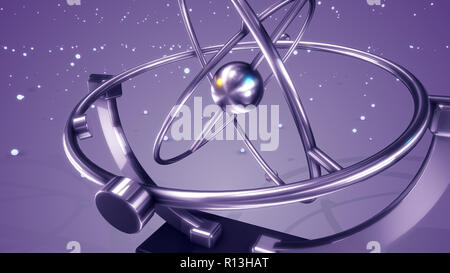 An artistic 3d illustration of a silver pendulum swaying in three spheres back and forth with glittering spots flying in the light violet background.