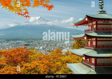 Mt. Fuji and red pagoda with autumn colors in  Japan,  Japan autumn season. - Stock Photo