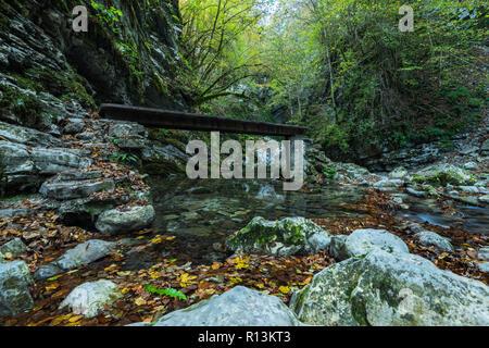 Waterfall Kozjak hidden in cave ,Slovenia. - Stock Photo