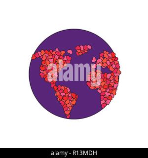 Earth made of hearts. Planet of love. World peace concept - Stock Photo