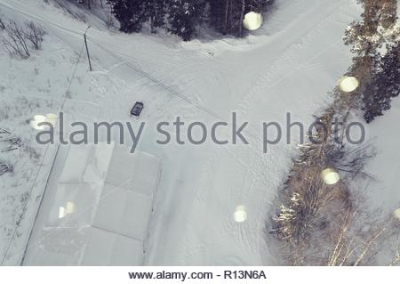 Bird's-eye view of a snowy landscape in winter - Stock Photo