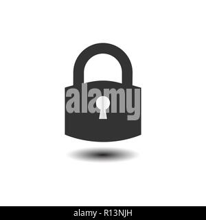 Lock icon. Padlock sign. Unlock. Vector illustration. Flat design. - Stock Photo