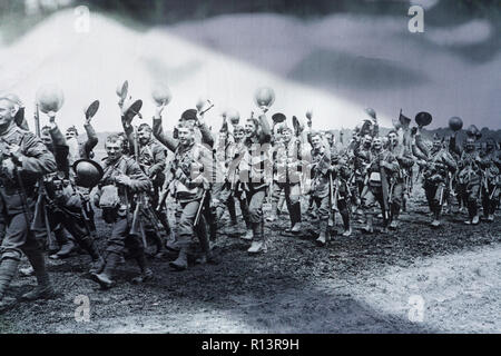 Tommies: WWI, First World War British troops marching on the Western Front. The Great War British soldiers marching. 1914 1918 - Stock Photo