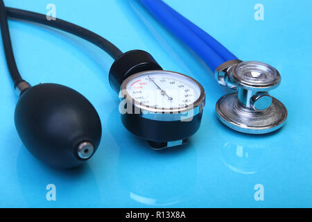 Medical stethoscope and blood pressure meter isolated on white background. healthcare. - Stock Photo