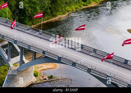 Bridge over the Gauja River.Gauja National Park, Krimulda, Latvia, Baltic states, Europe.