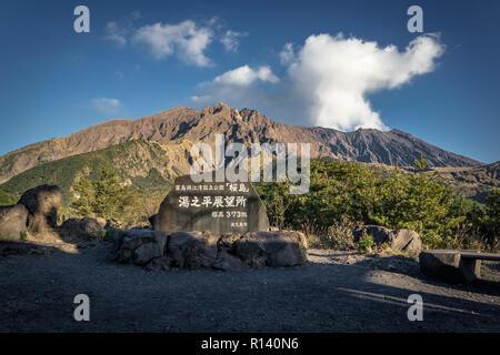 Sakurajima volcano in Kagoshima - Kagoshima Prefecture - Stock Photo