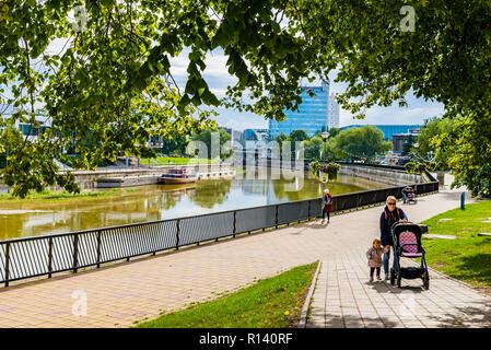 Promenade along the river Emajõgi - Mother river - Tartu, Tartu County, Estonia, Baltic states, Europe. - Stock Photo