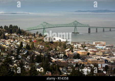 OR02358-00...OREGON - View over the town of Astoria, the Astoria Bridge and across the Columbia River to the state of Washington from the Astoria Colu - Stock Photo