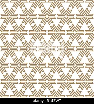 Seamless pattern based on Japanese ornament Kumiko.Golden color.Repeating contour lines. - Stock Photo