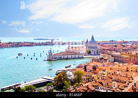 Santa Maria della Salute and Giudecca island, view from Piazza San Marco Campanile - Stock Photo