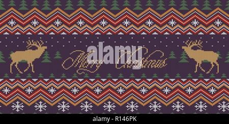 Merry Christmas. Winter knitted woolen seamless pattern with red deer in night spruce forest - Stock Photo
