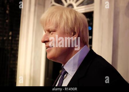 Wax figure of Boris Johnson at world renowned tourist attraction Madame Tussauds Wax museum in London, United Kingdom. - Stock Photo