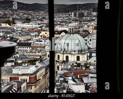 Panoramic view of Vienna city centre behind a window - Stock Photo