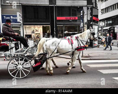 Vienna, Austria - November 1, 2018 - People are relaxing and visiting the city on a horse-drawn carriage. - Stock Photo