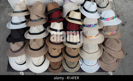 Panama hats for sale on the street of Cartagena de Indias, Colombia. Oct 2018 - Stock Photo
