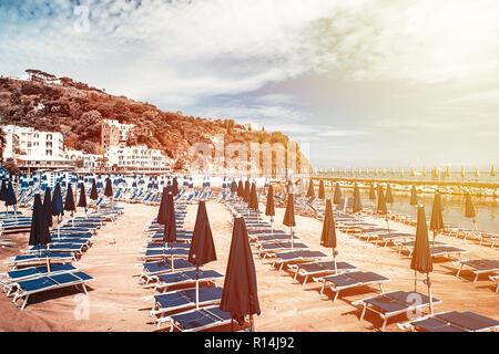 Empty sandy beach of Lacco Ameno, Ischia island - Stock Photo