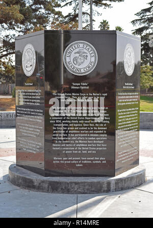 six sided monument in Veterans Memorial Park, Union City, California - Stock Photo