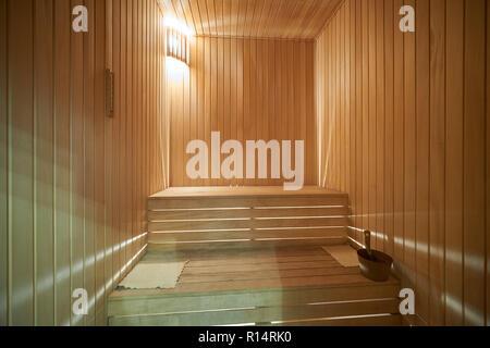 Interior of finnish sauna made of wood - Stock Photo