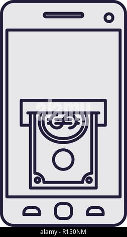 smartphone with bills isolated icon - Stock Photo