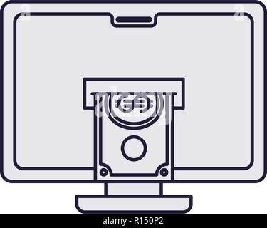 computer with bills isolated icon - Stock Photo